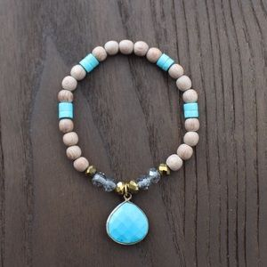 Turquoise and Crystal with Rosewood Charm Bracelet